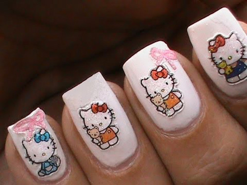 Hello Kitty Nail Designs Short Nails Pictures