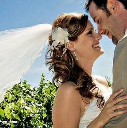 Wedding Hairstyles with Veil and Flower