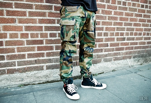 Boys Camo Cargo Pants Army