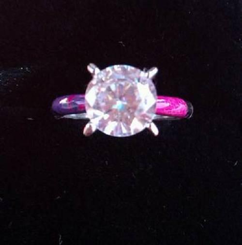 Camo Diamond Wedding Band Pink
