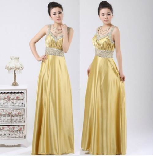 Long Prom Dresses Gold Images