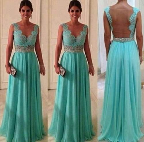 Mint green Long Prom Dresses Images