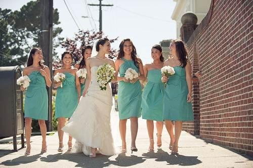Tiffany Blue Bridesmaid Dresses Short