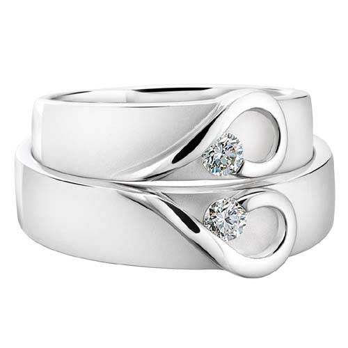 Two Plain Wedding Rings with Solitaire 2013