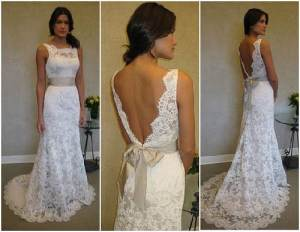 Lace Low Back Wedding Dress with Bow