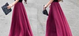 Red Maxi Skirts in Casual Fashion Design