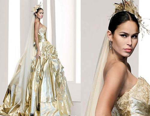 Gold and white wedding dresses concept in fotos