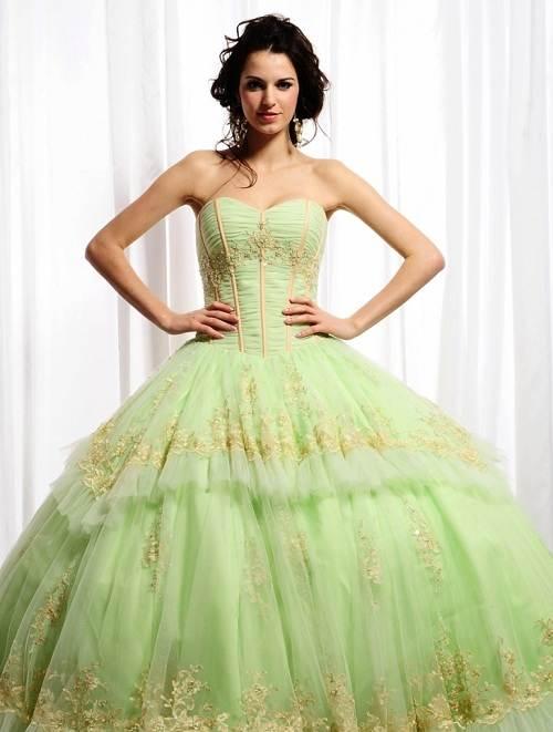 Big Puffy Prom Dresses Green