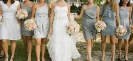 Country Wedding with Gray Dresses for Bridesmaids