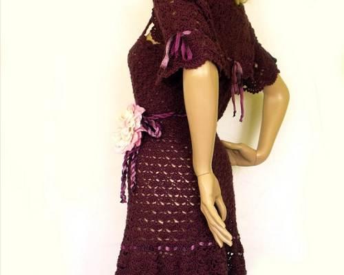 Crochet Wool Dresses Maroon