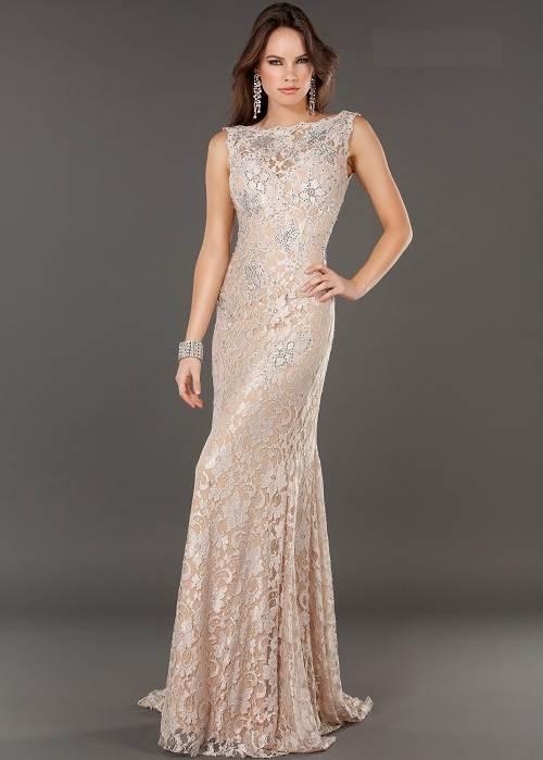 Jovani Long Lace Evening Dresses Blush