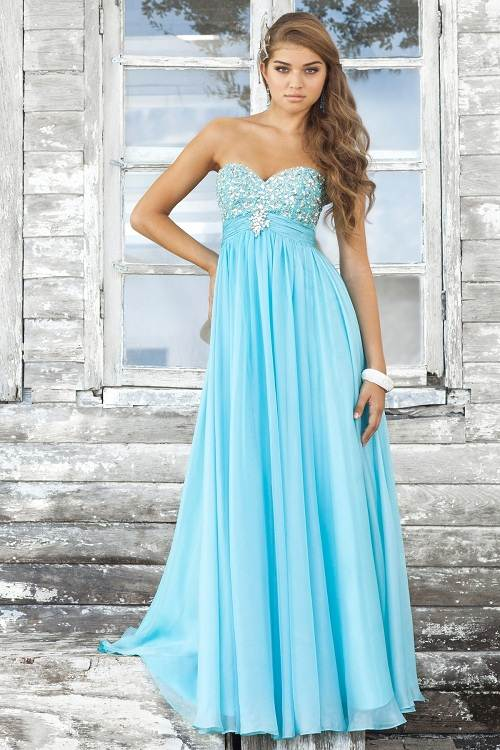 Light Blue Prom Dress Long 2017