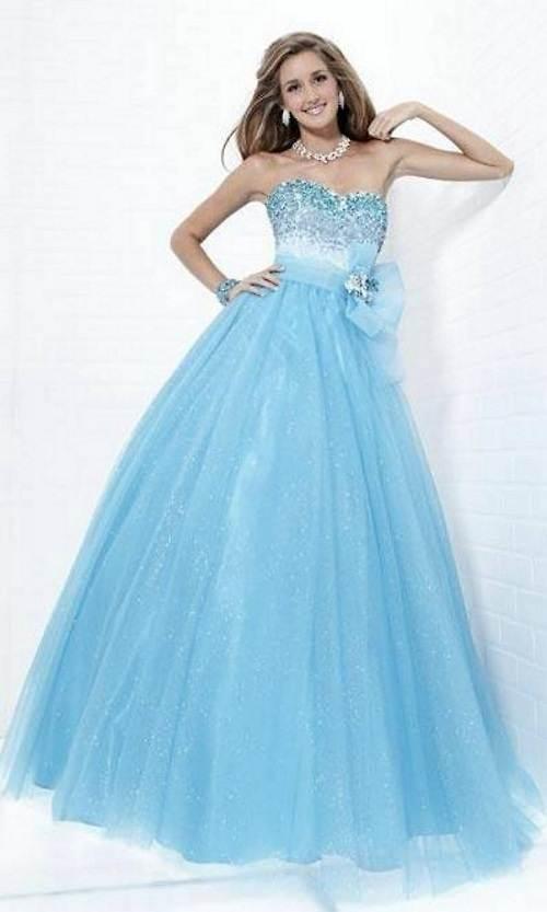 Light Blue Prom Dress Long Option