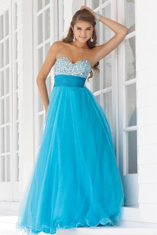 Prom Dress Blue Long