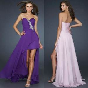 Purple Long Short Dresses 2013