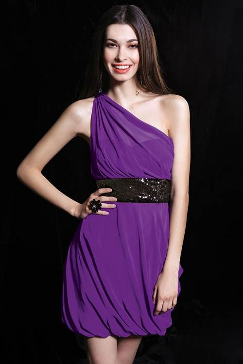 Purple Short Dresses for Juniors