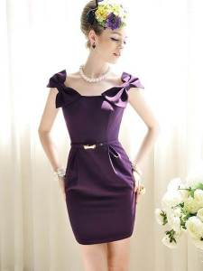Purple Short Dresses with Straps