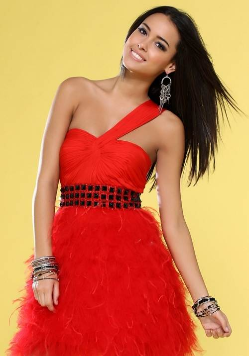 Red Puffy Prom Dresses Short