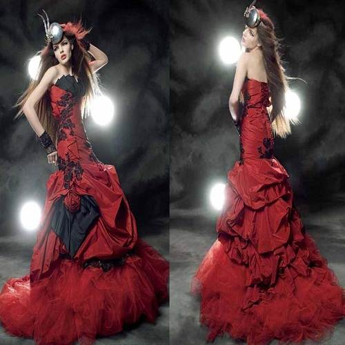 Strapless Red Dress Long