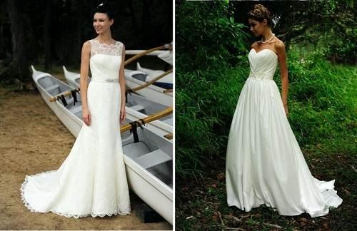 White Beach Wedding Dresses Casual Cheap
