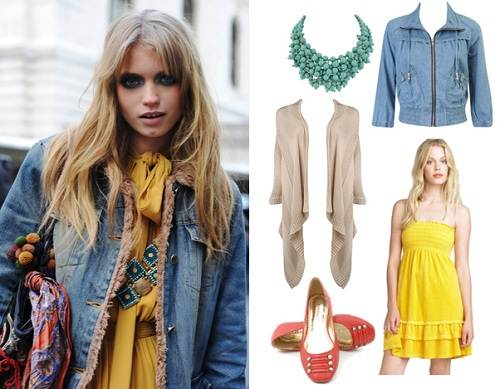 Yellow dress with Jean Jacket Ideas