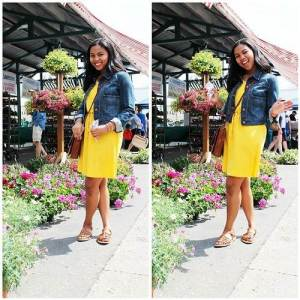 Yellow dress with Jean Jacket Images