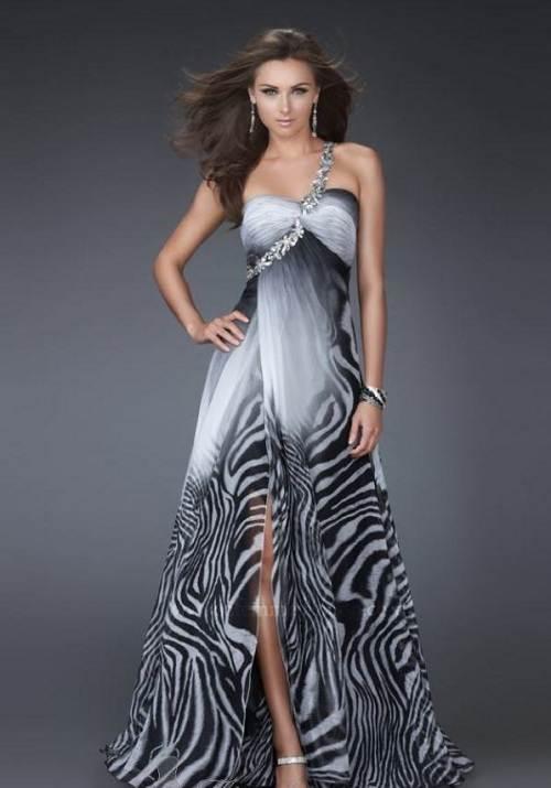 Zebra Feather Prom Dress High Low