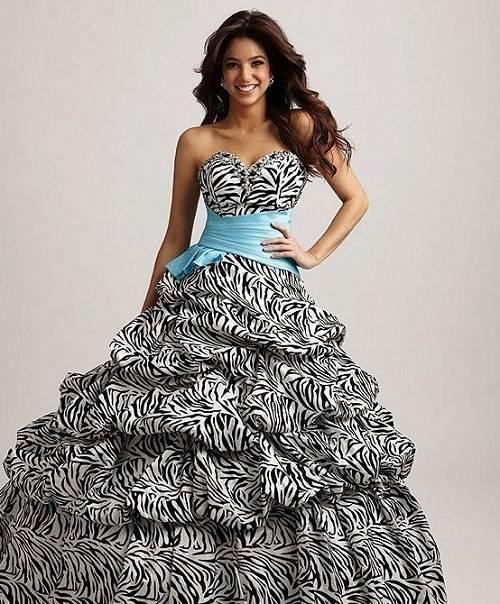 Zebra Feather Prom Dress Styles