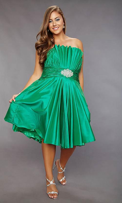 green Short Prom Dress Maxi