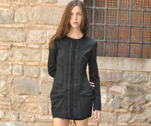 Corset Dress with Sleeves Black