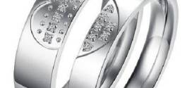 Couples Promise Rings with Engraving and Diamond