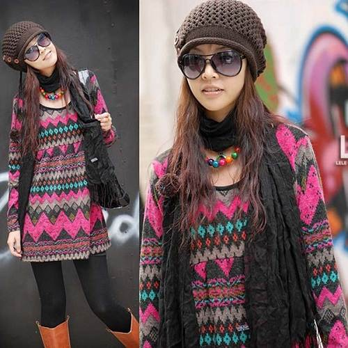 Tunic Sweater Dress with Leggings