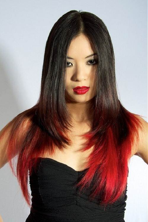 Black Hair with Red Highlights on the Bottom