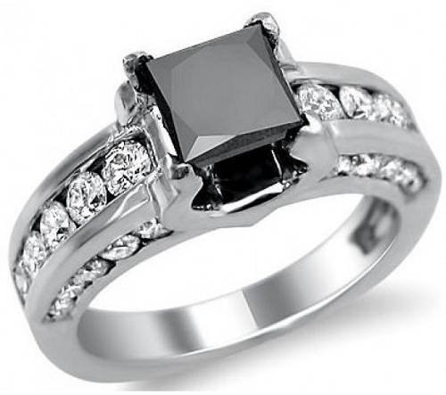 Black Princess Cut Wedding Rings Images