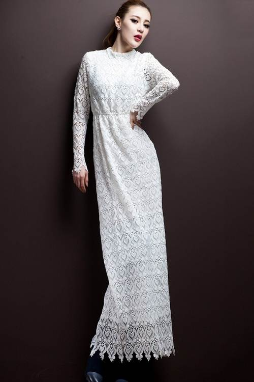 Elegant White Long Dresses Lace
