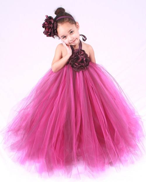 Hot Pink Flower Girl Dresses with Sleeves