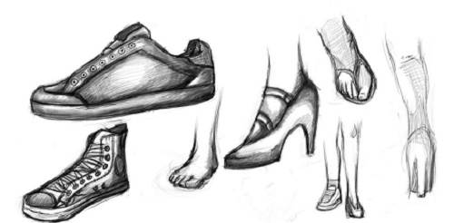 Shoes drawing Designs Sketches