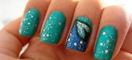 Teal Nails with Design of Art
