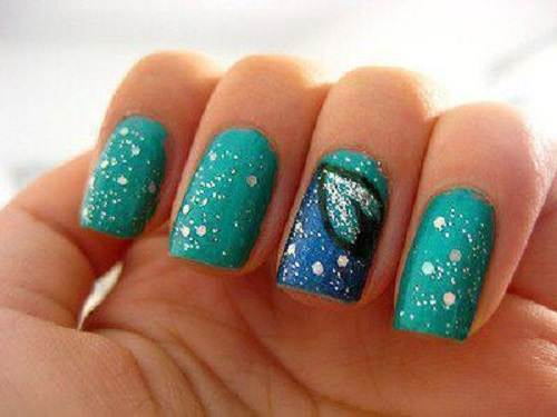 Teal Nails with Design Glitter