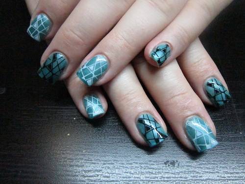 Teal Nails with Design Ideas