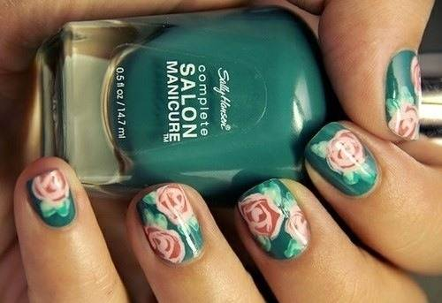 Teal Nails with Design Rose
